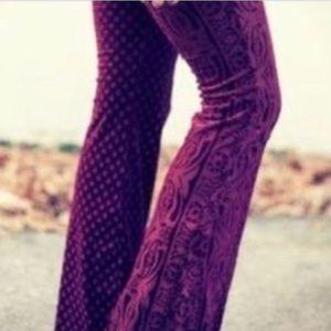 Free People Velvet Textured Burnout Pants Hippie